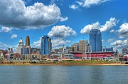 Baseball Stadiums Framed Prints - Cincinnati Skyline Framed Print by Mel Steinhauer