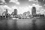 Ball Park Framed Prints - Cincinnati Skyline Photo in Black and White Framed Print by Paul Velgos