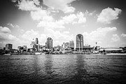 Black And White Ball Park Framed Prints - Cincinnati Skyline Riverfront Black and White Picture Framed Print by Paul Velgos