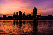 Cincinnati Framed Prints - Cincinnati Skyline Sunset at Night Framed Print by Paul Velgos
