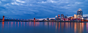 Randall Branham Acrylic Prints - Cincinnati Skyline Two Feet Off Water Acrylic Print by Randall Branham