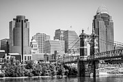 Ohio Photos - Cincinnati with Roebling Bridge Black and White Picture by Paul Velgos