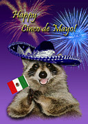 Donkey Digital Art - Cinco de Mayo Raccoon by Jeanette Kabat