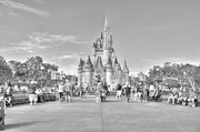 Cinderellas Castle Prints - cinderella castle BW hdr Print by Robert Jones