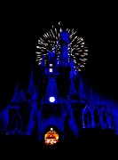 Cinderella Castle Framed Prints - Cinderella Castle Fireworks Framed Print by Benjamin Yeager