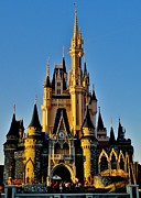 Walt Disney World Posters - Cinderella Castle Sunset Poster by Benjamin Yeager
