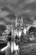 Cinderellas Castle Prints - cinderellas castle night HDR BW Print by Robert Jones