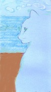 Cyprus Artists Drawings Prints - Cindy by the Sea Print by Anita Dale Livaditis