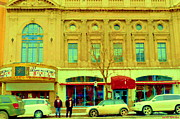 Montreal Store Fronts Posters - Cinema Movie Palace Rialto Theatre And Cafe On Park Avenue Montreal City Scene Art Carole Spandau Poster by Carole Spandau