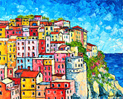 Red And Pink Sky Framed Prints - Cinque Terre Italy Manarola Colorful Houses  Framed Print by Ana Maria Edulescu