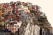 Colorful Houses Prints - Cinque Terre Mediterranean Coastline Print by Kim Fearheiley