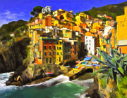 Village Life Framed Prints - Cinque Terre Framed Print by Michael Pickett