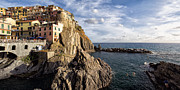 Northern Italy Framed Prints - Cinque Terre Town on the Cliff Framed Print by George Oze