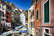 Narrow Boats Framed Prints - Cinque Terre Town Street Scene Framed Print by George Oze