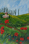 Tuscan Hills Paintings - Cipressi e Collina  by Seonaid  Ross