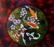 Cherry Blossoms Painting Prints - Circle of Koi Print by Carol Avants