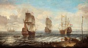 Old Sailing Ship Paintings - Circle Of Sailing Ships by Jacob Adriaensz Bellevois