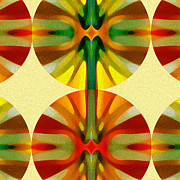Warm Digital Art - Circle Pattern 4 by Amy Vangsgard