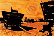 Conestoga Digital Art - Circle the Wagons by Mike Flynn