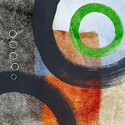 Urban Art Mixed Media Posters - Circles 2 Poster by Linda Woods