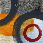Gray Abstract Prints - Circles 3 Print by Linda Woods