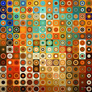 Earth Tone Prints - Circles and Squares 1. Modern Home Decor Art Print by Mark Lawrence