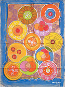 Circles Tapestries - Textiles Framed Prints - Circles in a box Framed Print by Mandy Simpson
