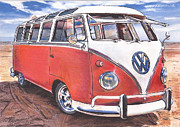 Volkswagen Pastels Prints - Circles In The Sand Print by Art Haus Ink