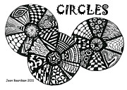 Circles Drawings Framed Prints - Circles Framed Print by Jean Baardsen