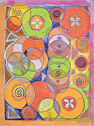Circles Tapestries - Textiles Prints - Circles within circles Print by Mandy Simpson