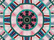 Traditional Quilts Tapestries - Textiles Metal Prints - Circular Patchwork Art Metal Print by Barbara Griffin