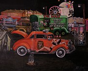 Street Rod Paintings - Circus behind the scenes. by Larry Lamb