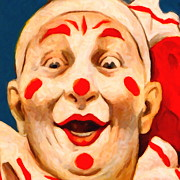 Laugh Metal Prints - Circus Clown - 2012-1230 - Painterly - Square Metal Print by Wingsdomain Art and Photography
