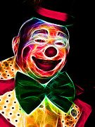 Laugh Metal Prints - Circus Clown - Version 1 - Electric Metal Print by Wingsdomain Art and Photography