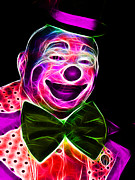 Laugh Metal Prints - Circus Clown - Version 2 - Electric Metal Print by Wingsdomain Art and Photography