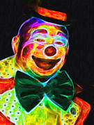 Laugh Metal Prints - Circus Clown - Version 3 - Painterly Metal Print by Wingsdomain Art and Photography
