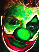Laugh Metal Prints - Circus Clown - Version 5 - Painterly Metal Print by Wingsdomain Art and Photography