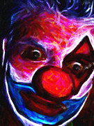 Laugh Metal Prints - Circus Clown - Version 6 - Painterly Metal Print by Wingsdomain Art and Photography