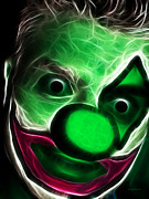 Spooky  Digital Art - Circus Clown - Version 8 - Electric by Wingsdomain Art and Photography