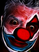 Clown Digital Art Posters - Circus Clown - Version 9 - Electric Poster by Wingsdomain Art and Photography