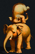 Laugh Metal Prints - Circus Elephants - 2012-1230 - Painterly Metal Print by Wingsdomain Art and Photography