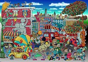 Crowd Scene Drawings - Circus in the City by Paul Calabrese