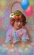 Flower Pink Fairy Child Posters - Circus Pixie Poster by Karen Morley