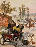 Automobile Drawings Posters - Circus star kidnapped Wilhio s poster for De Dion Bouton cars Poster by Anonymous