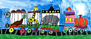 Machinery Drawings Framed Prints - Circus Train Framed Print by Max Kaderabek Age Eight