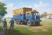 1960 Painting Framed Prints - Circus truck Framed Print by Mike  Jeffries