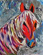 Black Stallion Paintings - Cisco Abstract Horse  by Janice Rae Pariza