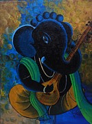 Vinayaka Paintings - Citar Ganesha by Rupa Prakash