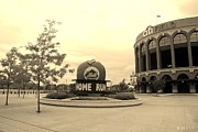 Black And White Ball Park Framed Prints - CITI FIELD in SEPIA Framed Print by Rob Hans