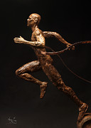 Copper Sculpture Sculptures - Citius Altius Fortius Runner over Black Olympic Art by Adam Long